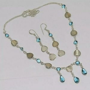 Mother of Pearl, Blue Topaz Necklace and Earrings.